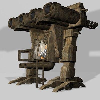 mortar mech 3d c4d