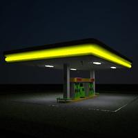 3d model gas station self