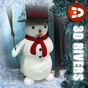 3ds max cute snowman christmas snow