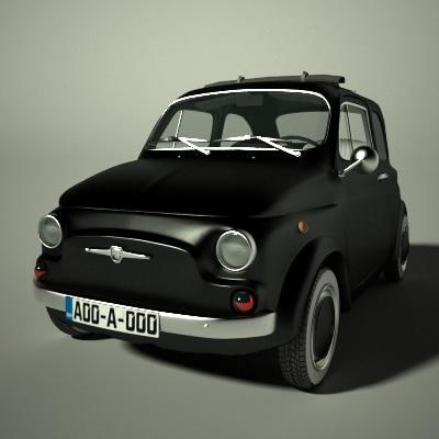 fiat 500 old 3d model. Black Bedroom Furniture Sets. Home Design Ideas