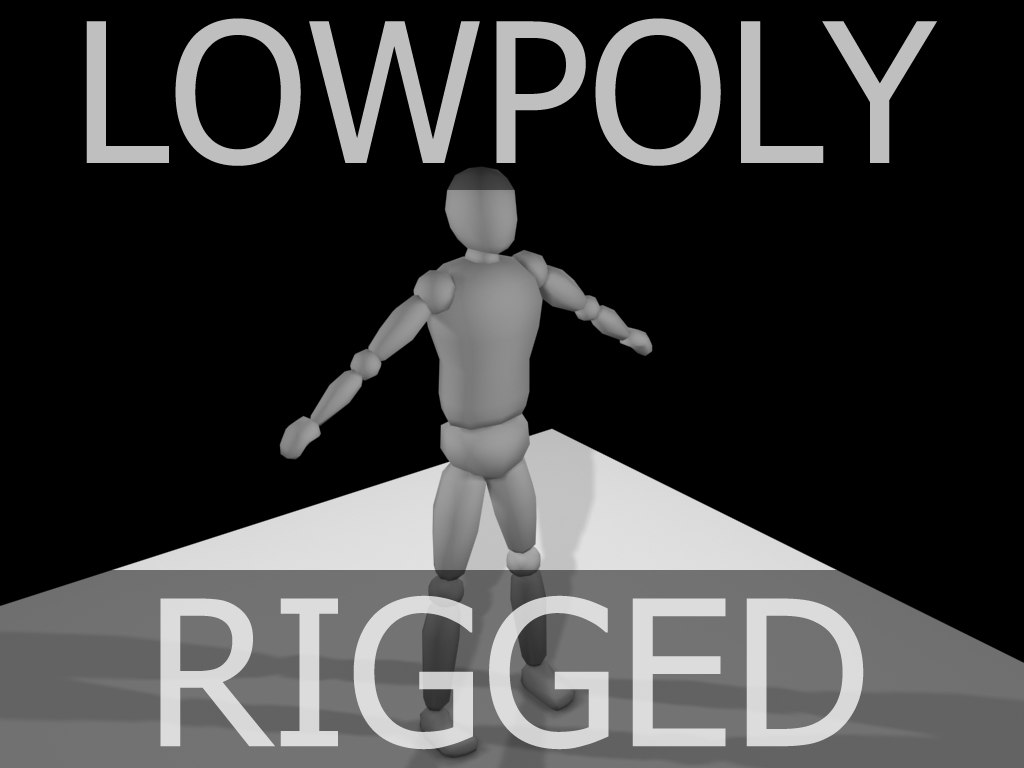 3d model simple low-poly dummy character