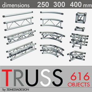 aluminum truss library 3d model