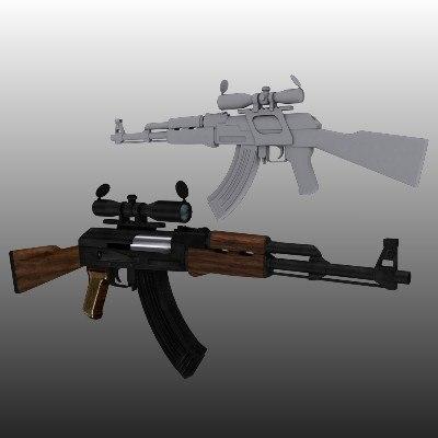 3d model ak-47 scope