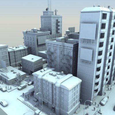 city scene population hd 3d model