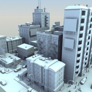 city scene population hd 3d model