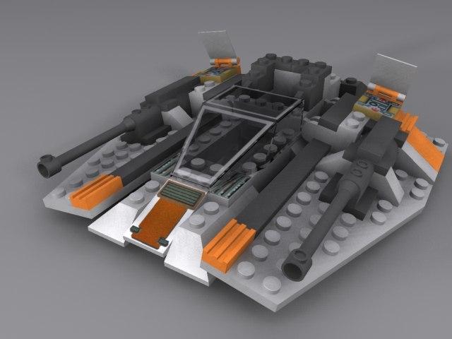 3d model lego snow speeder