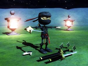 cartoon ninja character obj