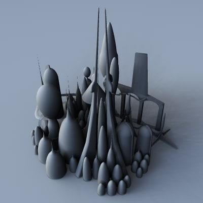 3d model simple city