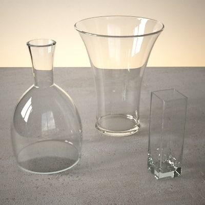 3d dwg glass vase set