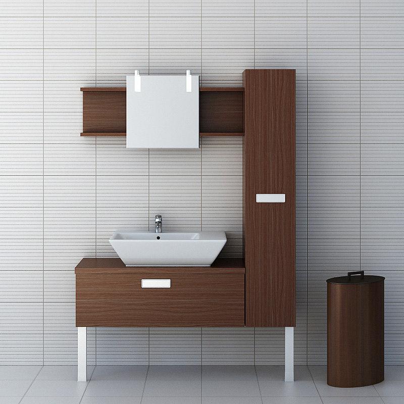 3d model set bathroom furniture