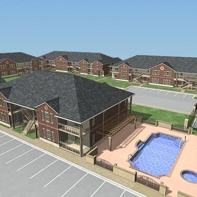 3d apartment buildings model