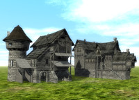 3d old houses model