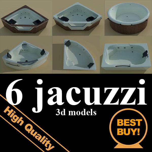 3d model 6 jacuzzi bath tubs