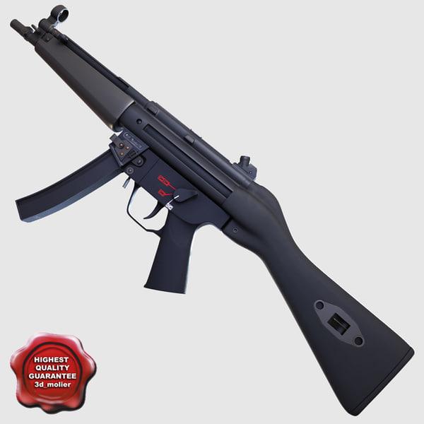 3d realistic submachine gun a4 model