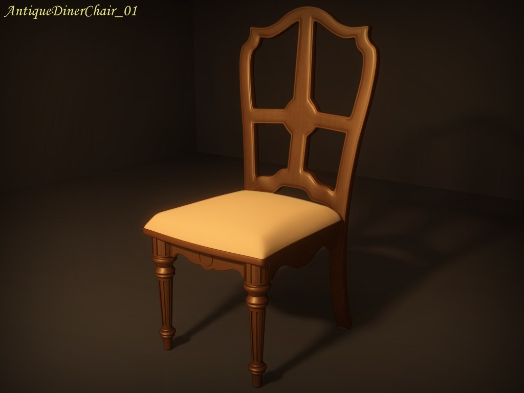 3d antique diner chair 01 model