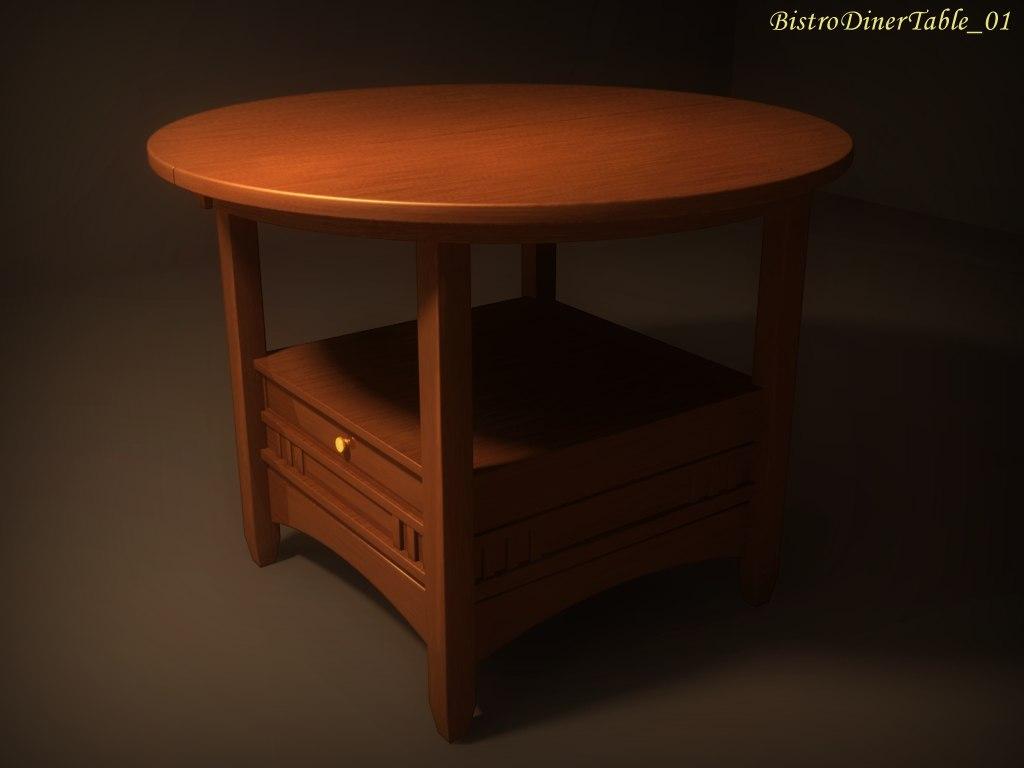 3d bistro diner table 01 model