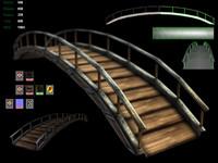 3d bridge garden metal model