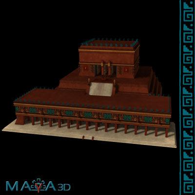 temple warriors chichen itza 3d model
