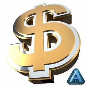 3d dollar sign