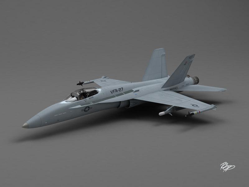f-18 hornet fighter jet 3d model