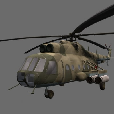3d mil mi-8 soviet helicopter games model