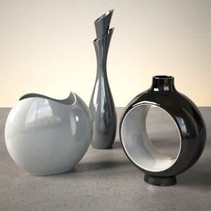 3dsmax contemporary vases modern set