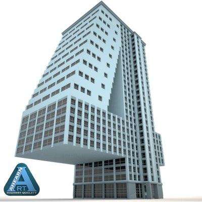 3d model building shape number 4