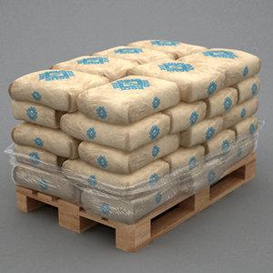 3d model pallet cement bags