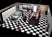 automotive garage set car engine 3d c4d