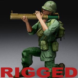 3ds max vietnam war soldier rigged biped