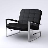 3d contemporary armchair black model