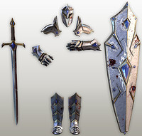 3d model fantasy knight tools armor