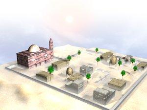 3d model houses terrian fps