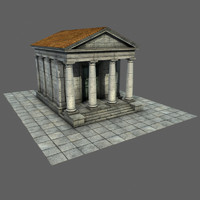 Mid Low Poly Roman Temple 1