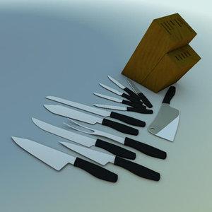 3d kitchen knives model