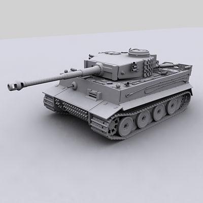 3d model tiger tank
