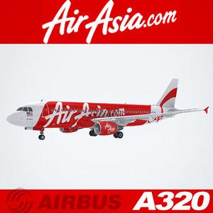 airbus a320 air asia 3d model