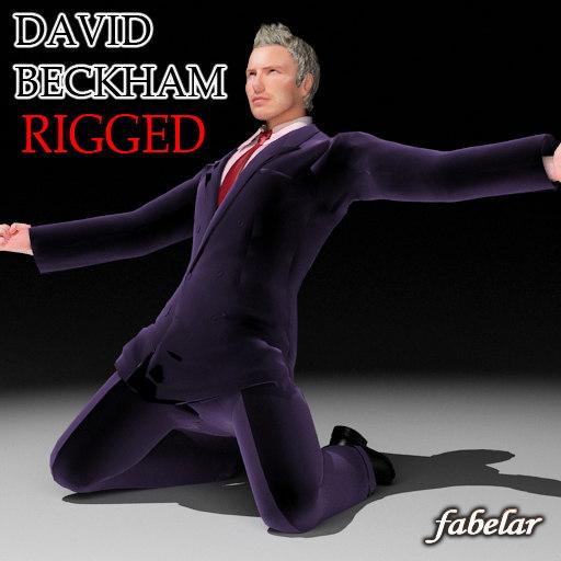 3d model david beckham rigged