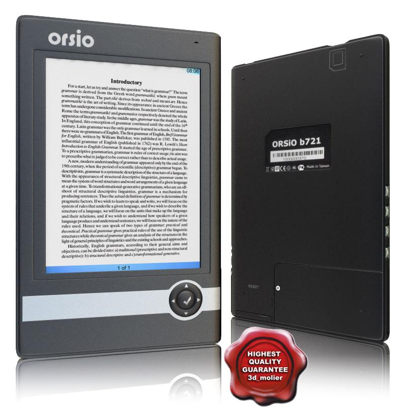 3d model electronic book orsio b721