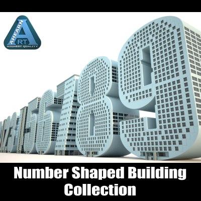 3d buildings shape numbers construction model