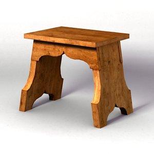 3d medieval bench model