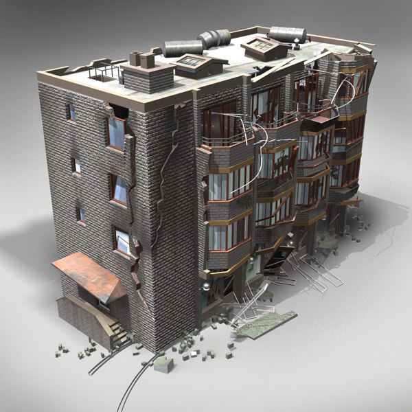 3d model destroyed building for Build house online 3d free