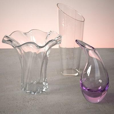glass vase set 3d 3ds