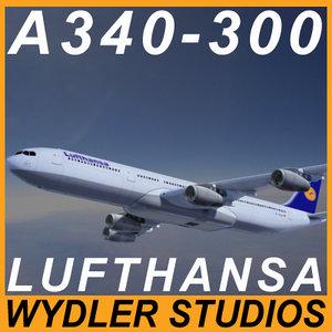 3d model a340-300 lufthansa