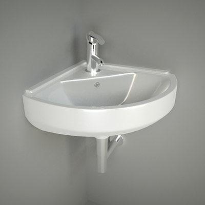 3d model washbasin corner. model washbasin corner