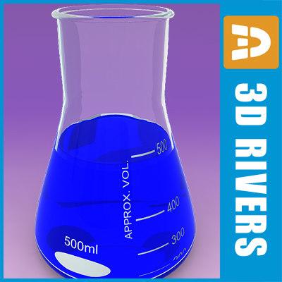 flask chemistry lab 3d max