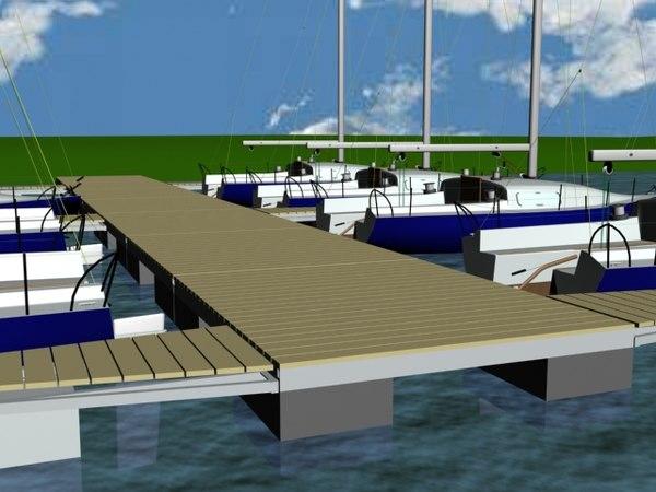 3d model of marina port sailing