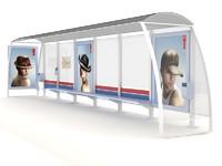 shelter bus tram 3d model
