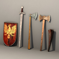 4 Medieval Weapons & Shield, low poly