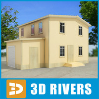 3dsmax small town house building